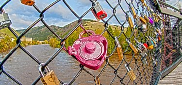 Heart shaped lock on Footbridge near the UM campus.