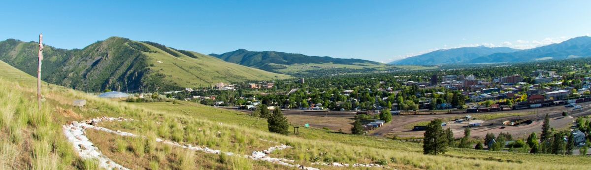 The view of Missoula from Jeanette Rankin Peace Park.